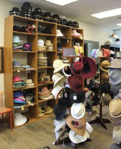 Wide selection of hats, backpacks and books. Photo by Nancy Leasman