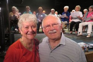 Yvonne and Ed Yunker, of Crosby, at a rehearsal for Geritol Frolics, a musical variety show in Brainerd. The Yunkers worked hard to revive the show 13 years ago, and Ed has been the show's director ever since. Photo by Jan Stadtherr