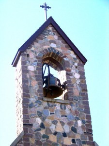 This church steeple in Henning was crafted of field stones. Photo by Nancy Leasman