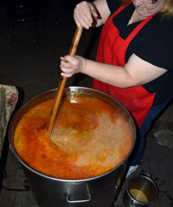 Kathleen Wollak of Rice stirs this year's batch of bouja, a stew she creates for family and friends each year. Contributed photo