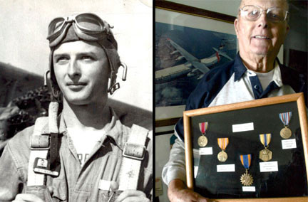 Ken Skalberg entered the Army Air Corps in November 1942. He was 18 years old at the time. Photo contributed. Right, Skalberg is pictured with his medals. Photo by Tom Hauer