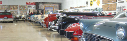 A view of the collection of cars in Bohmer's garage. Photo by Scott Thoma