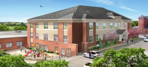 The Mother of Mercy campus is growing again this year. The new facility will have 12 apartments for memory care, giving M.O.M. more than 50 memory care apartments. In addition, the new building will have apartments for a husband or wife to live with a spouse with dementia, as well as 12 more apartments for enhanced assisted living. The project is expected to be complete by this fall. Contributed rendering