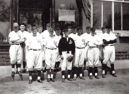 1940 Lake Jennie baseball team. In the front, from the left, is captain Warren Johnson, Eugene Anderson, Bob Regal, Lindsey Rotten, Roland Smith, and Al Pancake. In the back is Walt Settergren, Earl Schramm, Ron Johnson, Sherman Chastek, manager Wes Asplin, Bud Chastek, Roy Hultman, Clarence Anderson, Curtis Carlson and Donald Carlson. Photo contributed.