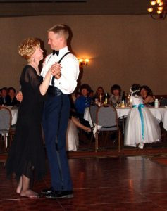 Brenda Sargent with her middle son, Brock, during the mother-son dance at his wedding. Moments like these have extra meaning for Brenda, who has lived with ovarian cancer for more than 10 years. Contributed photo