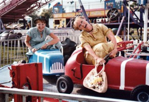 Tina Torkelson (right), also known as Ann Edwards, and Lena Olsen (left), also known as Annette Watkin, having fun at the fair after one of their many shows. The dynamic duo will put on their last show on Aug. 30. Contributed photo