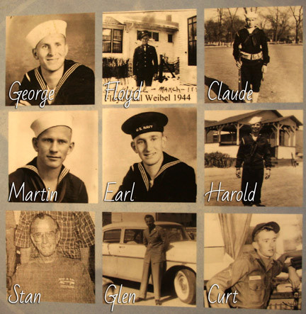 Nine of 10 brothers in the Weibel family were active members of the military, starting in 1942. The boys are the sons of Paul and Ellen Weibel of Winsted.