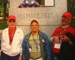 Martin, Glenn and Curt are pictured here at the Minnesota memorial in Washington D.C. when they made the Honor Flight in 2012.      Photo contributed.