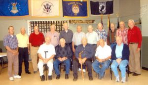 Members of the Milaca Korean War Last Man's Club get together each year at the Milaca American Legion banquet room. This photo was taken in 2013. The group includes (front, L to R) Harold Hassing, Gene Eggen, Charles Yetzer, Louis Smith, Robert Beaver, (back L to R) Ralph Sagerstrom, Kenneth Edgren, Ernie DeBoer, Bob Becker, Leroy Ekberg, Bill Lindholm, Lyle Helmen, Henry Michael, Sid Santema, Arnold Eggert and George Besser. Contributed photo