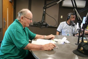 Wally Pikal with his co-host John Mons doing the Pikal Patch program on KDUZ radio.         Photo by Tom Hauer.