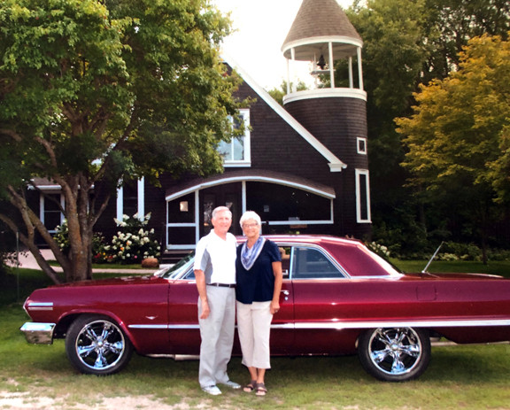 Roger and Kathy Monson's 50th wedding anniversary was held at Shoreham Chapel, at Lake Melissa, Minnesota. During the celebration, the two took a picture with their 1963 Chevy Impala SS, the same car they rode in on their wedding day. The couple also drove the car to their prom, homecoming and honeymoon. Photo by Kari Robak