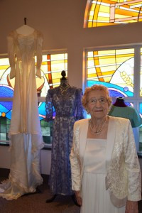 Ida Sass, age 99, wears her 50th wedding anniversary dress at the 2015 Wedding Fashion Show. Contributed photo