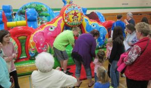 One of the popular areas for the kids is the auxiliary gym, where several inflatables are set up. All activities and demonstrations at the Pope County Expo are free.  Contributed photo