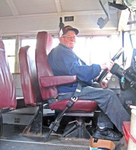 Leo Wenner, of Royalton, started his bus route in 1958. He still drives. The school district estimates that Wenner has driven over 678,000 miles just on his route, not counting field trips, over the last 59 years. Photo by Jennie Zeitler