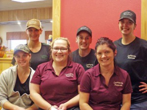 Some of the wait staff and kitchen staff stopped for a photo during lunch at Countryside Restaurant in Long Prairie. Back row: Melinda Christensen, Angela Bartkowicz and Brandy Peterson. Front row: Alisha Christensen, Tiffany Rosenow and Steph Powell.  Photo by Jan King.