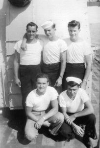 Ralph Jahnke of Parkers Prairie (lower left) with his fellow sailers during WWII. Contributed photo