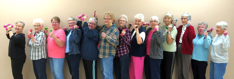 "These women decided to make their own ""Bone Builders"" exercise program in Sacred Heart, at the urging of Adris Kjersten. They meet nearly every Monday, Wednesday and Friday at the Sacred Heart Community Center. Contributed photo"