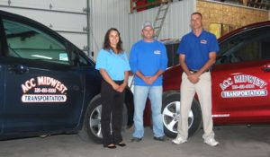 ACC Midwest Transportation Manager Brianna Raether, left; President Eric Labraaten, center; and Service Manager Mike Meyer, right. ACC Midwest has grown from one van to 25 vehicles in five years. Labraaten credits his staff for the growth and their commitment to customer service. ACC Midwest offers non-emergency ambulatory, wheelchair and stretcher transportation in the counties of McLeod, Meeker, Sibley, Renville, Nicollet, Carver, Stearns, Wright and Kandiyohi.        Photo by Scott Thoma