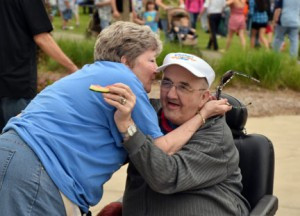 Sandy Dilts, a staff member at Good Sheperd, shares a special moment with resident, Leo Weyer, at the 2015 Summertime celebration. Contributed photo