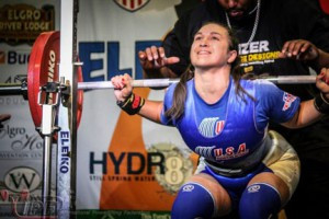 Rachael Ellering, of Grey Eagle, prepares for a deadlift at the World Power Lifting Championship in South Africa. Ellering is the daughter of Paul Ellering, a wrestler and dogsledder, and Deb Ellering-Rosenberg, a power lifter and fitness competitor.               Contributed photo