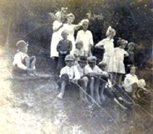 The only known photo of the Arnold children and some of their cousins fishing at a family picnic in Diamond Bluff, Wis., a month before the accident. Contributed photo