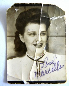 Photo of Sally taken when she was 17, which accompanied her future husband Merrence throughout his World War II military service. It was safety tucked in his wallet.