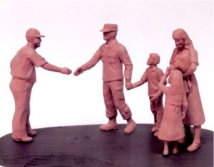 The reference photo was then formed into small clay figurines before it was then turned into large sculptures by Brodin Studios, of Litchfield. The sculptures, once complete, will be erected at Fort Hood in Texas.
