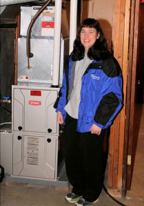 Stefanie Steffensmeier with her new Bryant furnace installed by GSM. Contributed photo