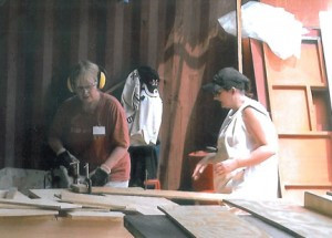 Karen Prischmann with a band saw on a recent mission trip.  Contributed photo