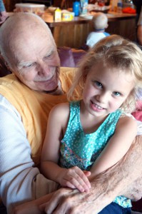 A photo of Heidi's daughter and grandpa before her grandpa passed away earlier this year. Photo by Heidi Hagen