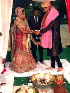 The closing ceremony was held at 4 a.m., the wedding couple, Sheela and Gaurav, are pictured at the last wedding ceremony of the night (morning). Contributed photo