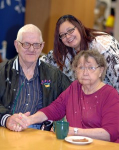 Bob (left) has a been a caregiver for Jeanne (right) for about 40 years. The ACTS of Kindness Adult Day Service in Olivia has been the perfect program for them. It gives Jeanne a place to socialize and remain active, and it gives Bob time to spend on other things including work. Pictured with Bob and Jeanne is Tammy Enstad, who is the program 's coordinator. Photo by Jim Palmer