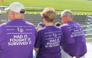 Brenda Sargent is pictured with two friends and cancer survivors at a Relay for Life event. Contributed photo
