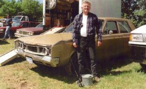 While working as an extra in Grumpier Old Men, Bill Seefeldt took a moment to have his picture taken with Jack Lemmon's car that was used in the film. Photo contributed