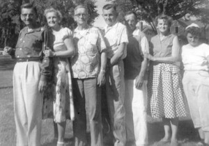 One photo from the first picnic in 1956 includes the seven children of Frederick and Ottile Kobs:  Otto, Frieda, Henry, Bill, Ed, Emma and Margaret. Contributed photo