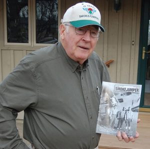 Jim Darr at his home in Redwood Falls, wearing a 75th Smokejumpers reunion cap of. Photo by Scott Thoma