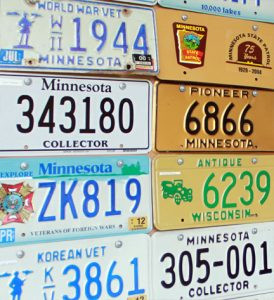Part of Everett's collection, showing a law enforcement plate.