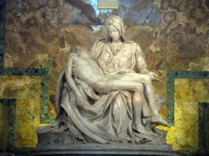Michelangelo's Pieta at St. Peter's Basilica in Rome. In 1964, the statue was shipped to the New York World's Fair.