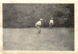 Rachel's dad playing softball on the farm. Contributed photo