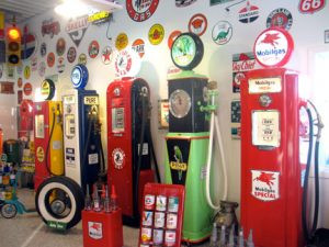 Some of the restored pumps in Wally Kill's collection. Photo by Carol Stender