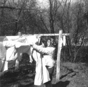 Photo of my mother hanging the laundry out, many years ago. Photo by Rachel Barduson