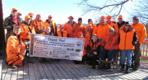Hunters and their helpers. The hunters include Craig Vorhees, Aaron Cross, of St. Cloud, Jeremy Carlson, of Svea, Keegan Maclennan, of Willmar, Mike Oldfield, of Spicer, Brian Gieseke, of Spicer, Calmon Peterson, of Blomkest, Bob Lungstrom, of New London, Jim Gustafson, of Pennock and Pierce Heinze, of Grey Eagle. Contributed photo.