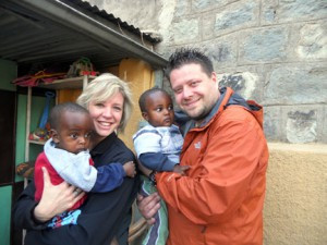 Rachael and Ryan McCleary of rural Holmes City with their twin boys, Burka and Buche. The boys were adopted from Ethiopia and this was the first time Rachael and Ryan held the boys.           Contributed photo