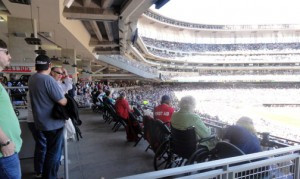 Accessibility was considered in just about every way during the design of Target Field. Wheelchair seating mixes in easily with non-wheelchair seating, and no one stands in the way of the view.