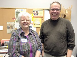 Sharon Sorenson and Mike Lamb are volunteers with Central Minnesota Job Transitions Group, a St. Cloud-based group that helps people who have been laid off, fired or are looking for a new job. Photo by Frank Lee