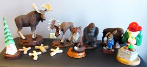 A few pieces in Curt Hutchens' woodcarving collection. Contributed photo