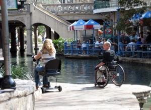 You don't have to walk the River Walk. Wheelchairs and scooters can be spotted throughout the area as city officials have worked hard to make the area accessible to everyone.