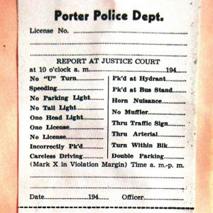 A sample of a constable's ticket from the early days shows some of the problems the police had to deal with in those days. Photos by Scott Thoma