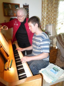 Doris Bakken of Kerkhoven has a piano lesson session with Dion Simon of rural Kerkhoven this past spring. Bakken has been offering lessons in her house since 1954.