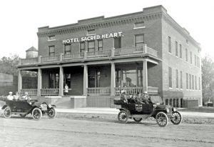 This photo of Hotel Sacred Heart was taken in or close to 1914, shortly after the hotel was built. The hotel building is now over 100 years old, is in fairly good condition and is listed on the National Register of Historic Places. Contributed photo